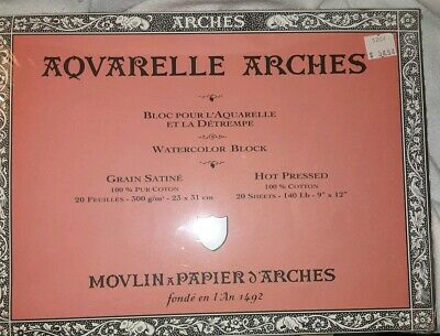 """Aquarelle Arches Watercolor Block Paper 9"""" x 12""""  20 Sheets NEVER OPENED"""