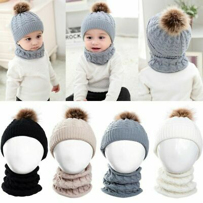 Baby Boys Girls Winter Warm Pom Bobble Knitted Crochet Beanie Hat Cap Scarf Sets