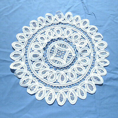 "Handmade Battenburg Lace Doily 14"" Round White Cotton"