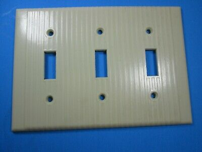 Leviton Ivory Ribbed 3 ganged Switch Cover Plate
