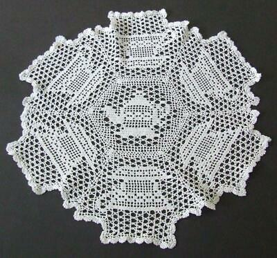 White Vintage Finely Hand Crocheted Doily Filet Pattern - Teapot, Cups & Saucers