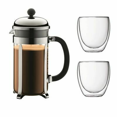 BODUM CHAMBORD Set cafetiere a piston - 8 tasses -  1L - Gris - Avec 2 verres do