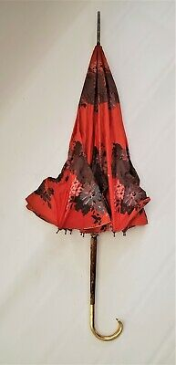 Antique Parasol Umbrella Red Flowered Gold Handle Wood Metal 1900s Victorian