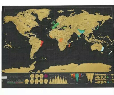 Travel Scratch Off World Map 82x59cm Big Poster Personalized Journal Country