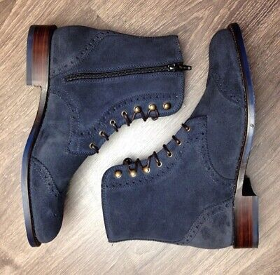 Handmade Men's Navy Blue Lace Up Boots,Suede Leather Wing Tip Brogue Zipper Boot