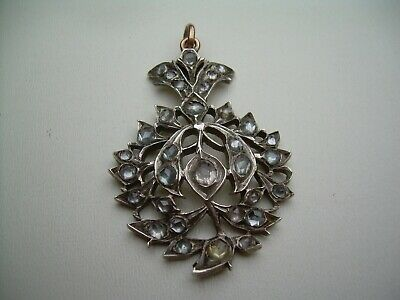 Antique Georgian Silver Gilt Jargoon Pendant Gold Fittings.