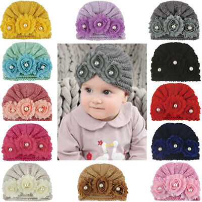 Infant Baby Girl Soft Hat  Flower Bead Cap Newborn Beanie Knitted Headband Cap