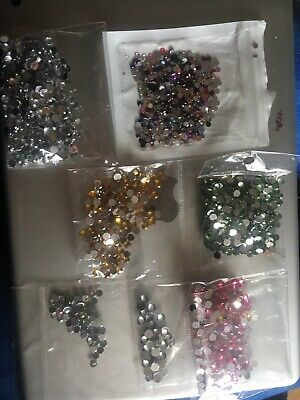 Rhinestone  diamante gems Various Colours With Pick Up Sticks And Tray