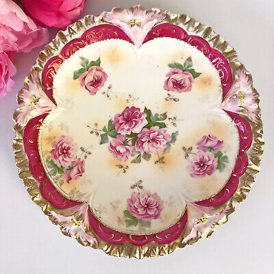Antique RS Prussia of Germany Porcelain Plate - Red with Lillies