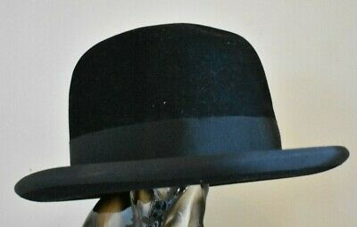 Vintage Men's Black Bowler Hat Lincoln Bennett The Lincona Homburg (refT34)