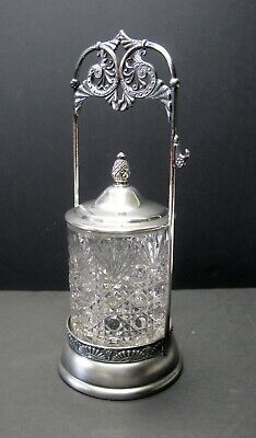 Ornate Pickle Castor with Decorative Glass Jar Top Quadruple Plated Van Bergh