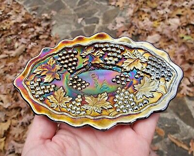 Northwood GRAPE & CABLE ANTIQUE CARNIVAL ART GLASS PIN TRAY PLATE AMETHYST! CUTE