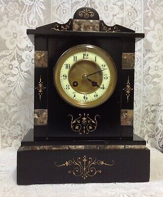 F Marti Victorian Slate Mantle Clock, Very Attractive & Heavy, Art Nouveau Style