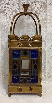 Antique Late Victorian Brass & Stained Glass Square Sectioned Hall Lantern