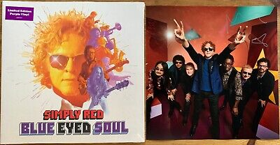 "SIMPLY RED BLUE EYED SOUL PURPLE VINYL + SIGNED 12"" x 12"" PHOTO BY MICK HUCKNALL"