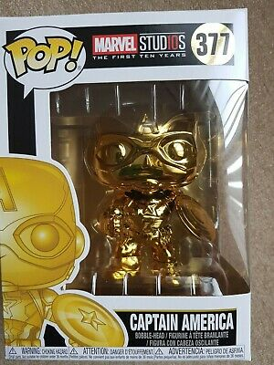 Funko Pop Gold Captain America 377 Marvel Studios Collectable Figure boxed