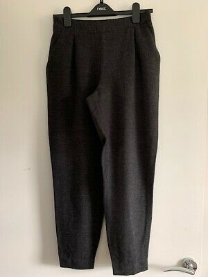Zara Jogger Style Winter Trousers Charcoal Dark Grey Elastic Waist Ankle Ex Cond