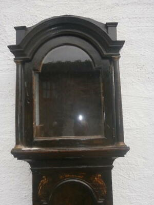 EARLY black lacquered  LONGCASE CLOCK  case for a  12x16+1/2 inch dial C1730