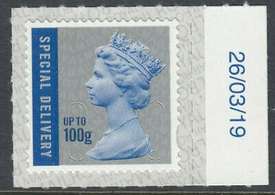 GB 2019 100g S/DELIVERY CODE M19L SBP2i MACHIN DATED 26/03/19 on SELVEDGE MNH