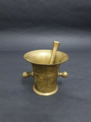 Tiny Vintage Antique Solid Bronze Brass Mortar & Pestle Apothecary Pharmacy