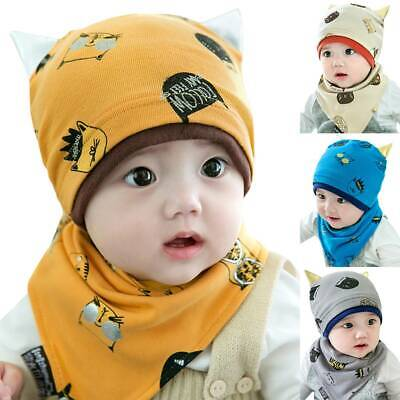 Toddler Kids Baby Boys Girls Cartoon Winter Hat Cotton Soft Beanie Cap Scarf Set