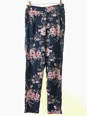 NEW LOOK navy blue floral print silky tapered leg harem joggers trousers size 10