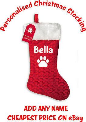 Personalised Pet Christmas Stocking Deluxe Fluffy White Top ADD ANY NAME Dog Cat
