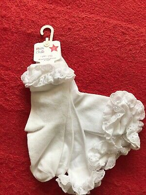 NEW Girls White Frilly Ankle Socks Size 9-12 EUR 26.5-30.5 BNWT School Summer 3