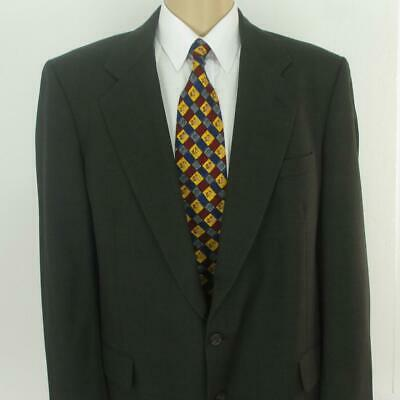 44 L (46 L) JoS A Bank Gray Brown Plaid Wool 2 Btn Mens Jacket Sport Coat Blazer