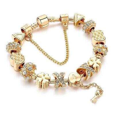 Hot Authentic Silver Charm Bracelet Gold Heart Key Pandora Charms My European
