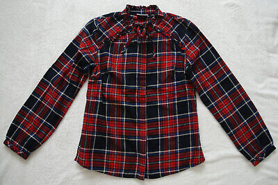 NEXT Never Worn Brushed Cotton Girls Farm Shirt Red/Navy Check High Neck 11 YRS