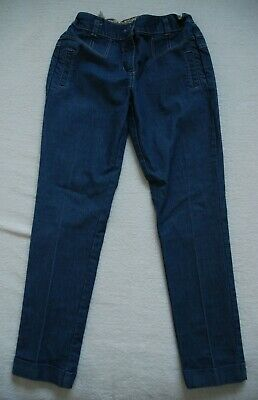 NEXT Girls Cotton Stretch Smart Chinos Style Trousers Denim Blue  10 YRS