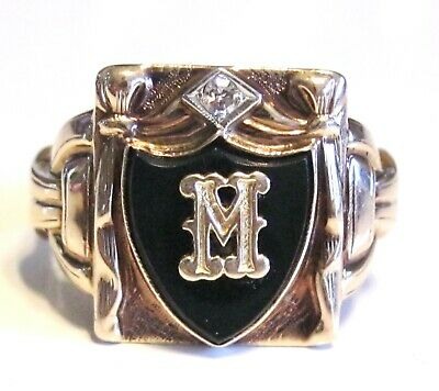 Antique Art Deco Gold Diamond Mens Mans Signet Monogram Initial Letter M Ring