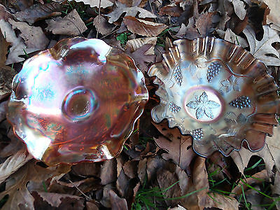 Lot of 2 Carnival Glass Bowls Fenton Vintage Bowl Sowerby Thorn Thistle Bowl