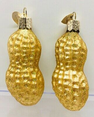 """2 Peanut in Shell Glass Christmas Ornament by Old World Christmas 3-1/2"""""""