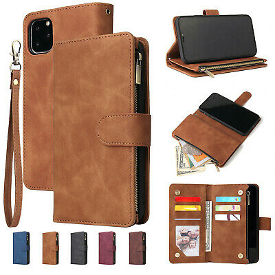 For iPhone 11 Pro Max Xs XR 678 Retro Leather Zipper Wallet Case Card Flip Cover
