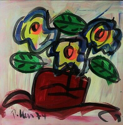 """Signed PETER KEIL German Neo Expressionist """"FLOWERS"""" Still Life Oil Painting NR"""