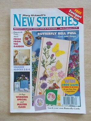 Mary Hickmott's New Stitches #34~Cross Stitch & Embroidery Patterns~1996