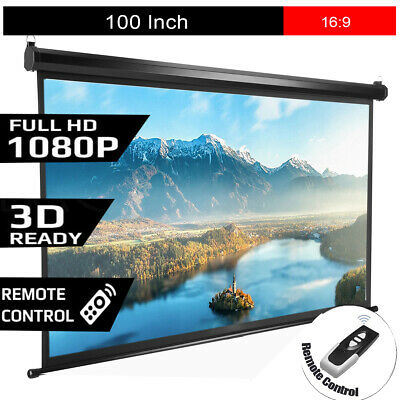16:9 Projector Screen Electric Motorised Projection HD 1080P Conference Remote