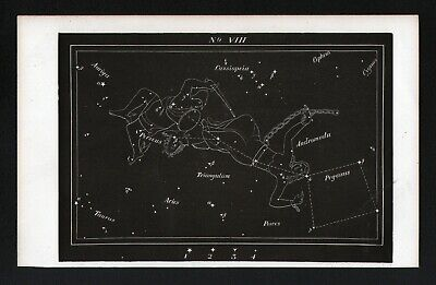 1869 Rolfe Star Map Constellation Perseus Andromeda Cassiopeia Astronomy 8