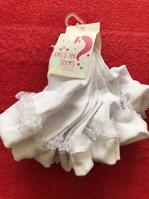 NEW Girls White Frilly Socks Size 9-12 EUR 27-30 BNWT School Summer  7 Pairs