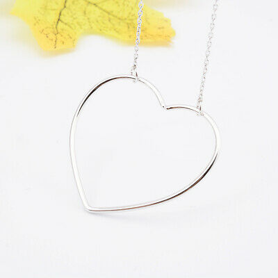 Shining 18K White Gold Plated Heart Pendant Cross Chain Necklace For Lady Gift