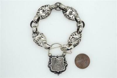 Antique Mid Victorian English Sterling Silver Bracelet & Padlock Clasp