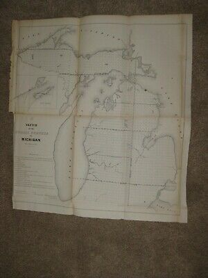 Huge Early Important Antique 1856 Michigan Map Isle Royale Northern Peninsula N