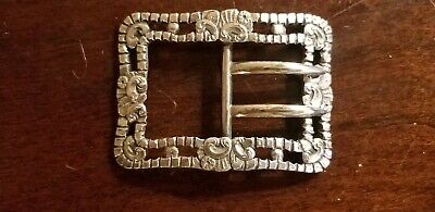 ANTIQUE 1895 EDINBURGH STERLING SILVER KILT BELT BUCKLE ornate