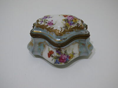 Antique Green Floral Hand Painted Vanity Trinket Box