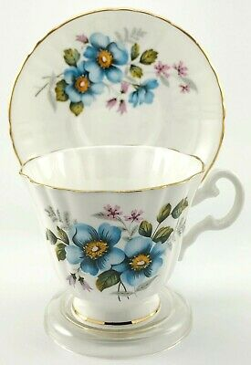 Royal Grafton Tea Cup And Saucer Bone China Blue Floral Footed Gold England Vntg