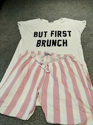 But First Brunch Maternity PJ's Size 10 Asos Pink White Stripe