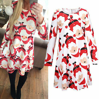 Family Matching Christmas Dress Women Girl Casual Mother Daughter Dress