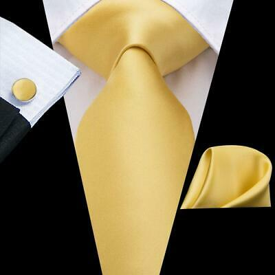 USA Yellow Golden Solid Men's Tie Silk Necktie Set New Hanky Cuff links Wedding